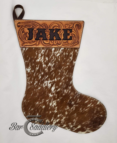 Dark Brown speckled hair on hide custom genuine leather Christmas Stocking