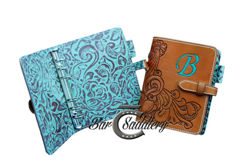 Hand tooled antiqued and painted with custom initial day planner