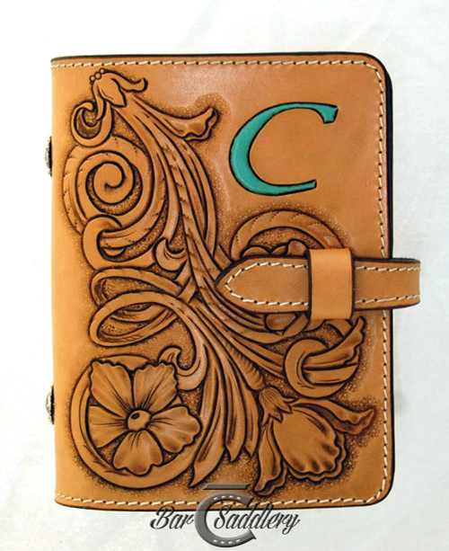 Custom hand tooled day planner, hand crafted in the USA with American, Hermann Oak genuine leather