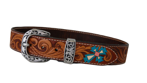 "Hand tooled, dyed & painted 28"" ladies / youth belt with stainless steel Jeremiah Watt buckle and loop"