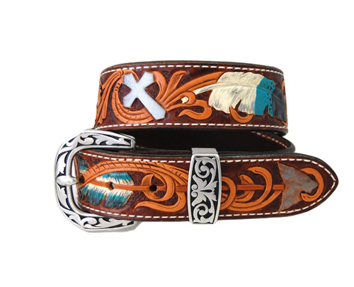 "Hand Tooled , Dyed & Painted 28"" Feather Belt with Buckle"