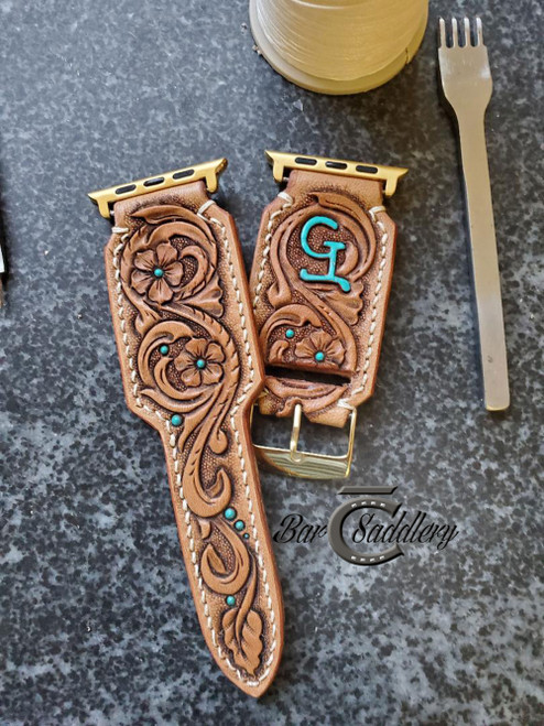 Floral / scroll tooled watch band