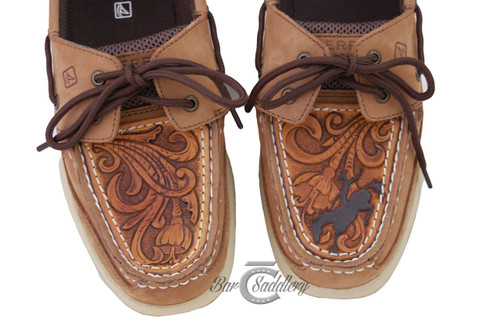 Custom tooled leather shoe / moc / Sperry toppers with bronc.  Sewn onto your shoes (not just glued)
