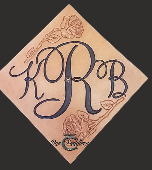 Monogram with roses - hand tooled  and dyed graduation cap  / mortarboard topper with concho for tassel