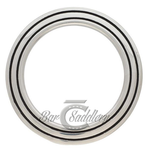 Smooth Stainless Steel Breast Collar Ring with double black accent grooves.