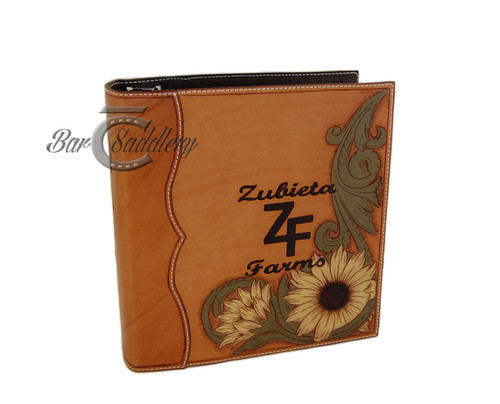 Custom, hand tooled, leather 3 ring binder