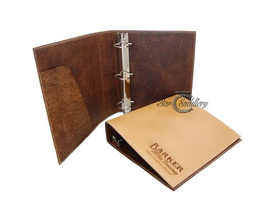 Laser engraved leather binder