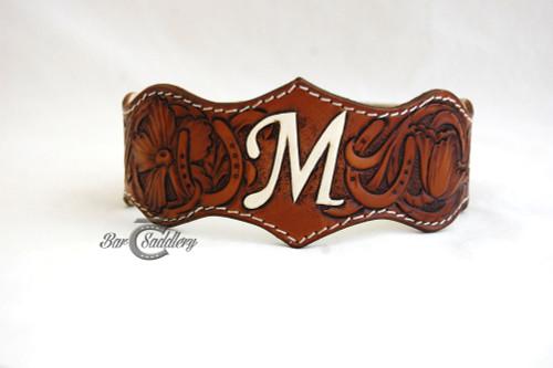 Custom hand tooled leather wedding garter belt
