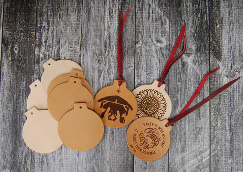 Genuine vegetable tanned tooling leather Christmas ornament blanks