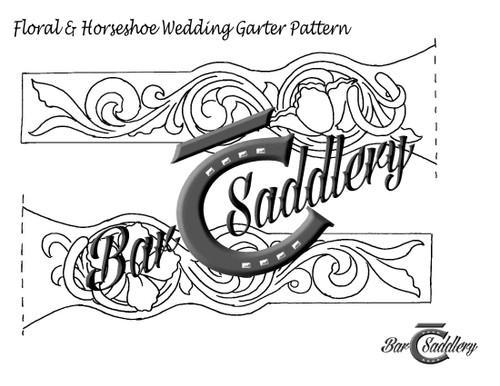 Leather wedding garter belt tooling pattern for download
