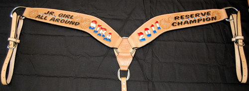 All Around Roper custom leather breast collars can be tailored to fit your style and budget needs.  If you have any questions, please feel free to contact us.  Orders of 6 or more automatically receive discounted pricing through the site.  Don't forget to check out our other custom leather western tack and other awards.