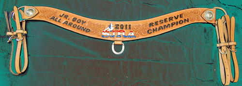 Custom leather award tripping collar roping breast collar