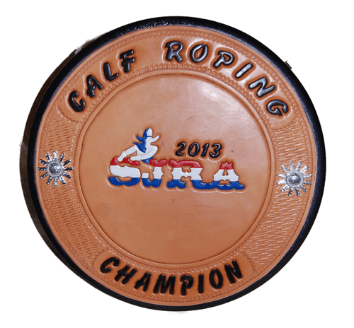 Rope Can with customized hand tooled and painted logo and hand tooled and dyed lettering with basket weave - award leather panel with natural light oil finish