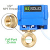 "U.S. Solid Motorized Ball Valve- 1/2"" Brass Electrical Ball Valve with Full Port, 9-24 V DC, 5 Wire Setup"