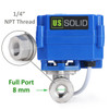 "U.S. Solid Motorized Ball Valve- 1/4"" Stainless Steel Electrical Ball Valve with Full Port, 9-24 V DC, 5 Wire Setup"