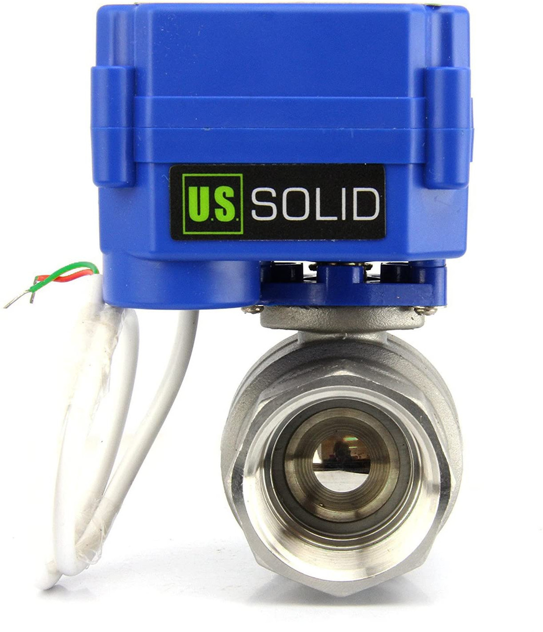 """U.S. Solid Motorized Ball Valve- 1"""" Stainless Steel Electrical Ball Valve with Standard Port, 85-265 V AC, 2 Wire Auto Return"""