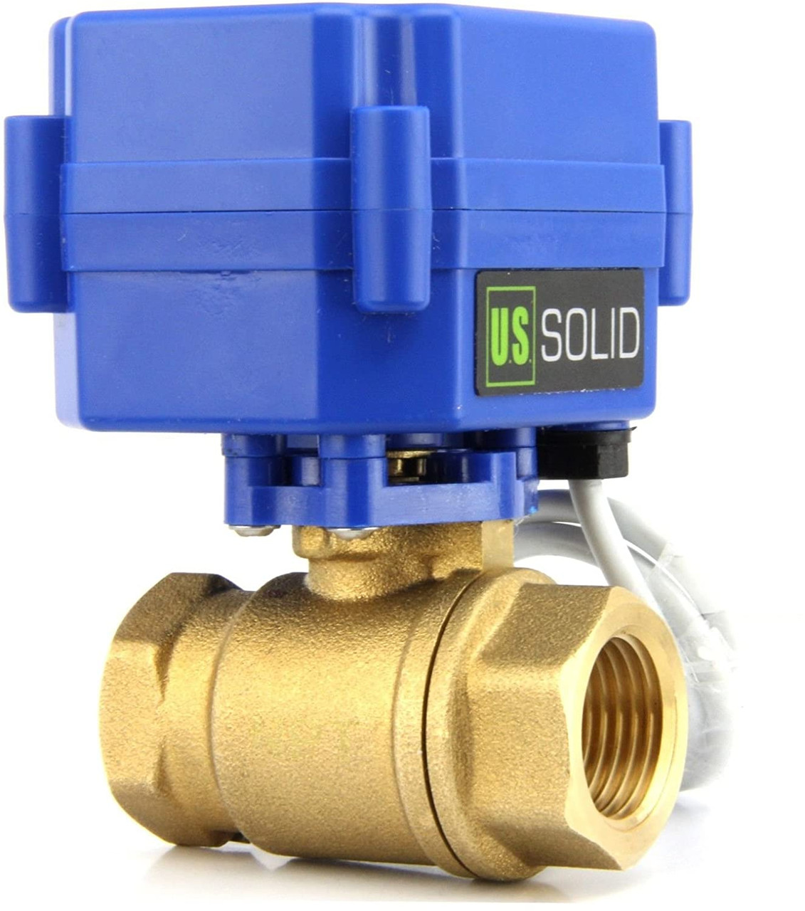 """U.S. Solid Motorized Ball Valve- 1/2"""" Brass Electrical Ball Valve with Full Port, 85-265 V AC, 2 Wire Auto Return"""
