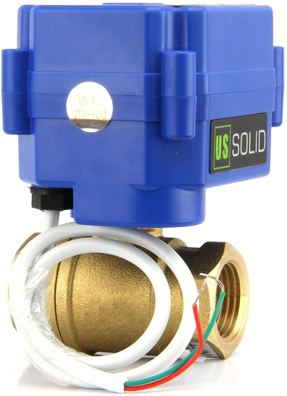 "U.S. Solid Motorized Ball Valve- 3/4"" Brass Electrical Ball Valve with Standard Port, 85-265 V AC, 2 Wire Auto Return"