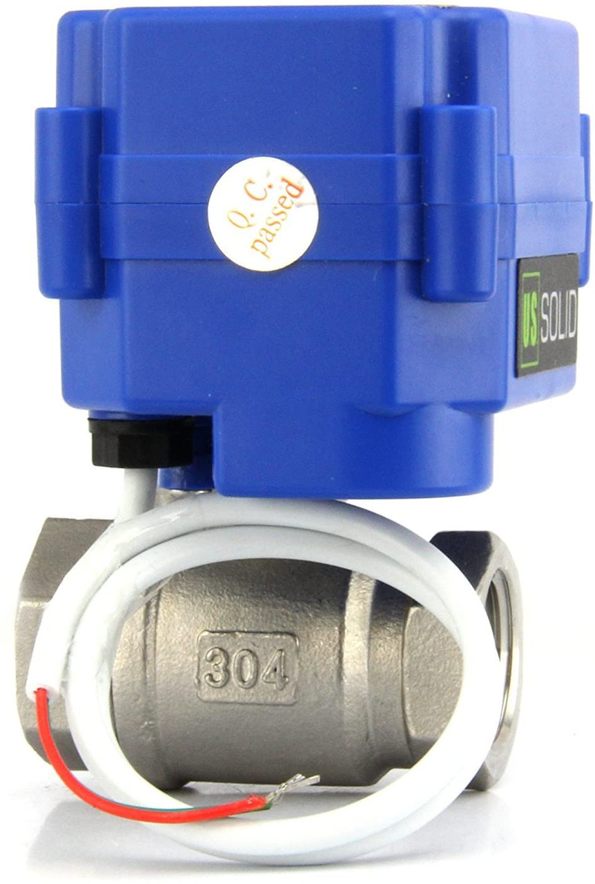 """U.S. Solid Motorized Ball Valve- 1/2"""" Stainless Steel Electrical Ball Valve with Full Port, 85-265 V AC, 2 Wire Auto Return"""