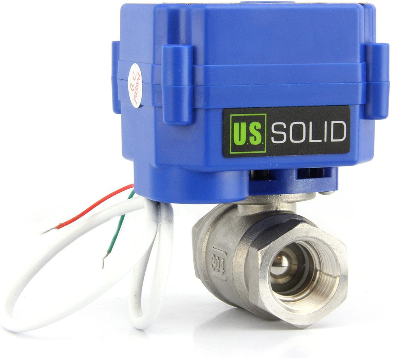 """U.S. Solid Motorized Ball Valve- 3/4"""" Stainless Steel Electrical Ball Valve with Standard Port, 85-265 V AC, 2 Wire Auto Return"""