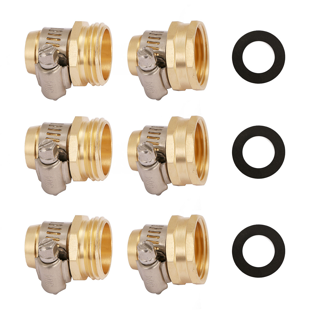 Brass Garden Hose Connector with Stainless Steel Clamps, Male and Female Garden Hose Fittings, 3/4 inch, 3 Sets