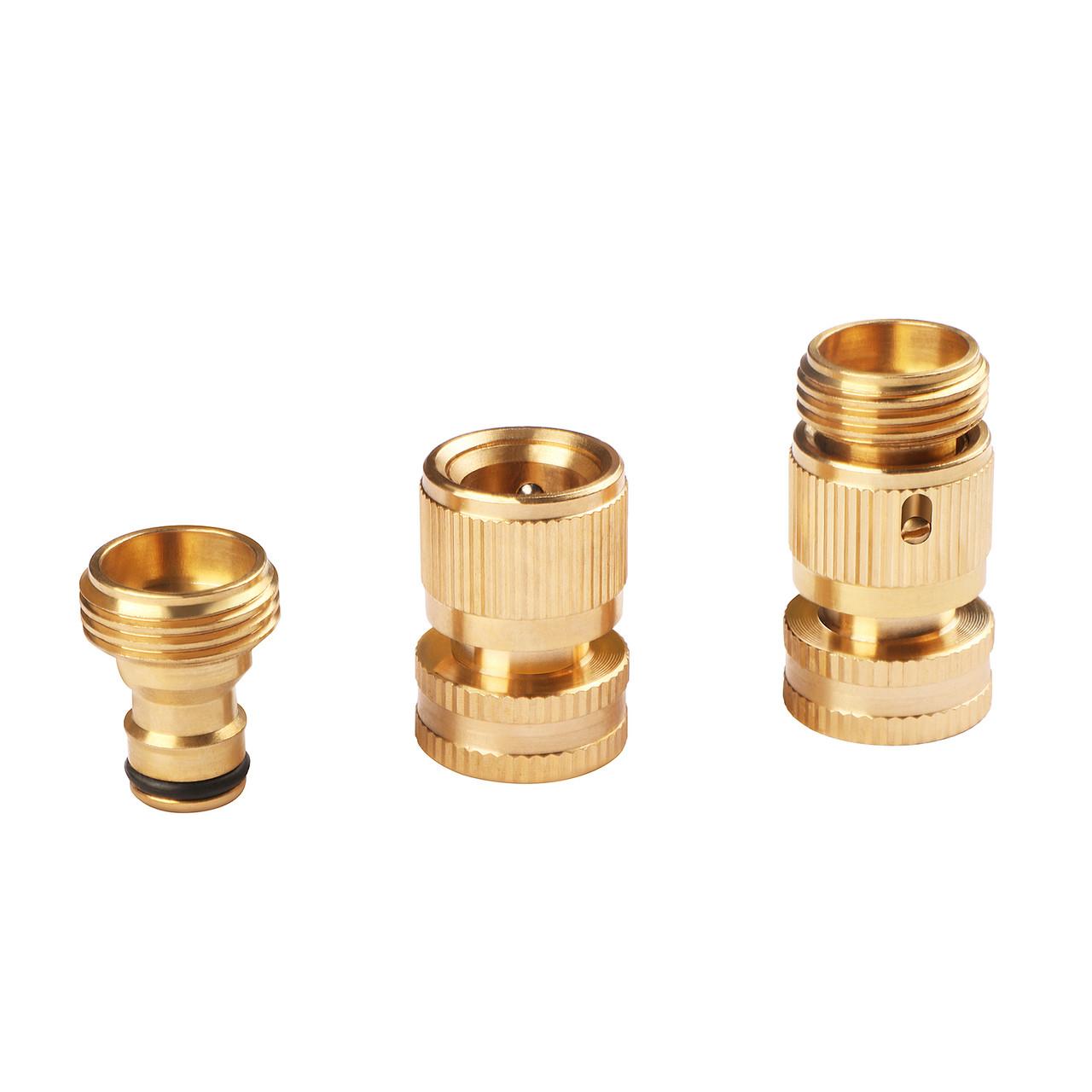 U.S. Solid Garden Hose Quick Connector, Solid Brass Quick Connect, Garden Hose Fitting, 3/4 inch GHT, 3 pcs