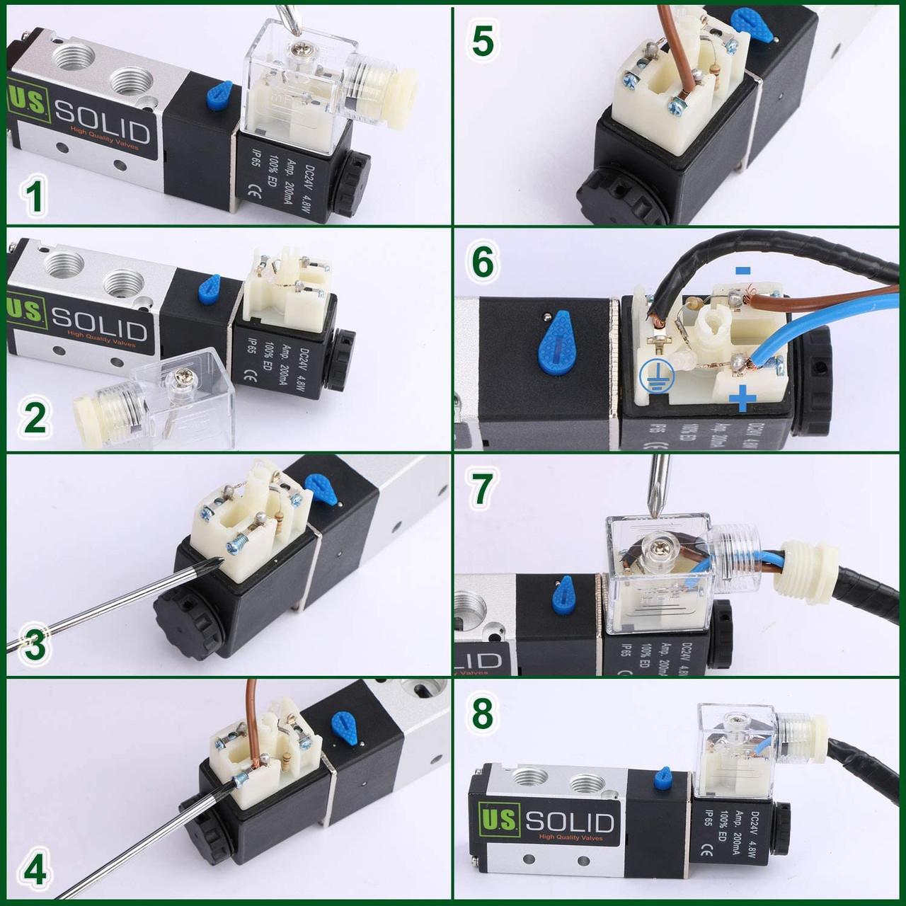 "U.S. Solid 1/8"" NPT 2 Way 2 Position Pneumatic Electric Solenoid Valve AC 110 V"