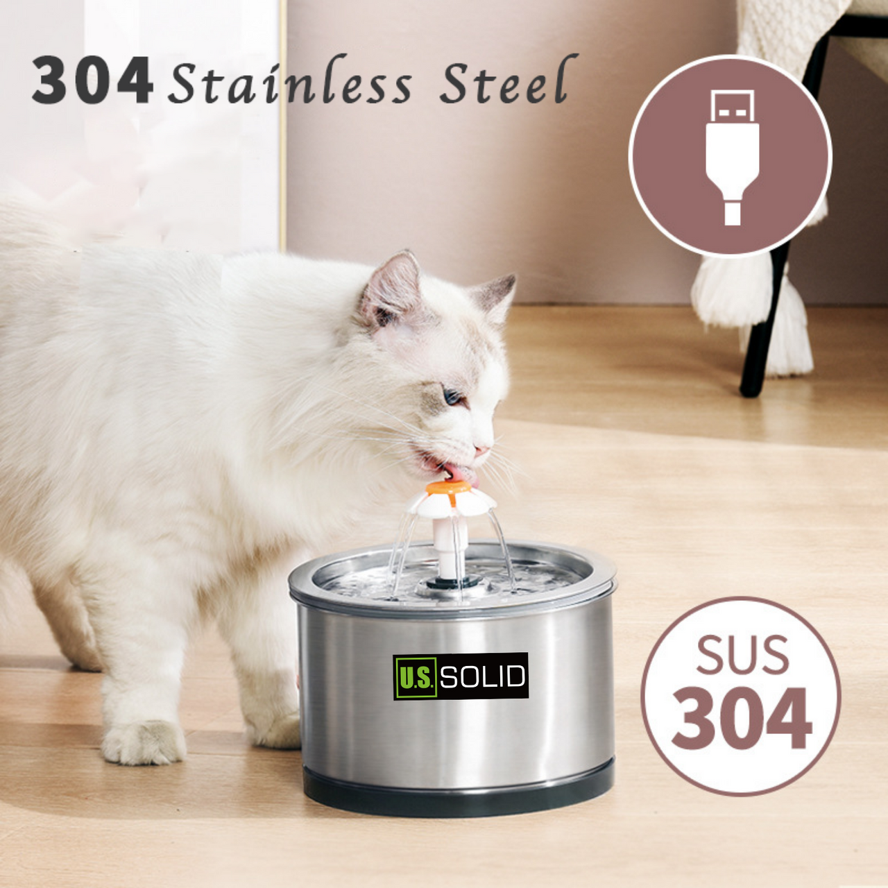 U.S. Solid Cat Water Fountain - Automatic Pet Water Fountain 304 Stainless Steel Dog Water Dispenser with LED Light, 2.5L