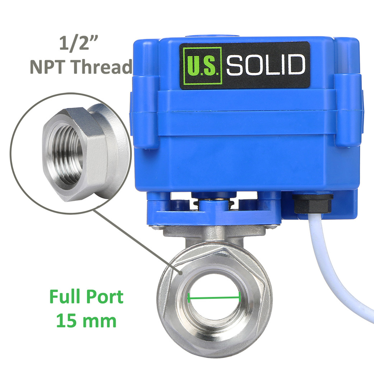 """U.S. Solid Motorized Ball Valve- 1/2"""" Stainless Steel Electrical Ball Valve with Full Port, 9-24 V AC/DC, 2 Wire Auto Return, Normally Open"""