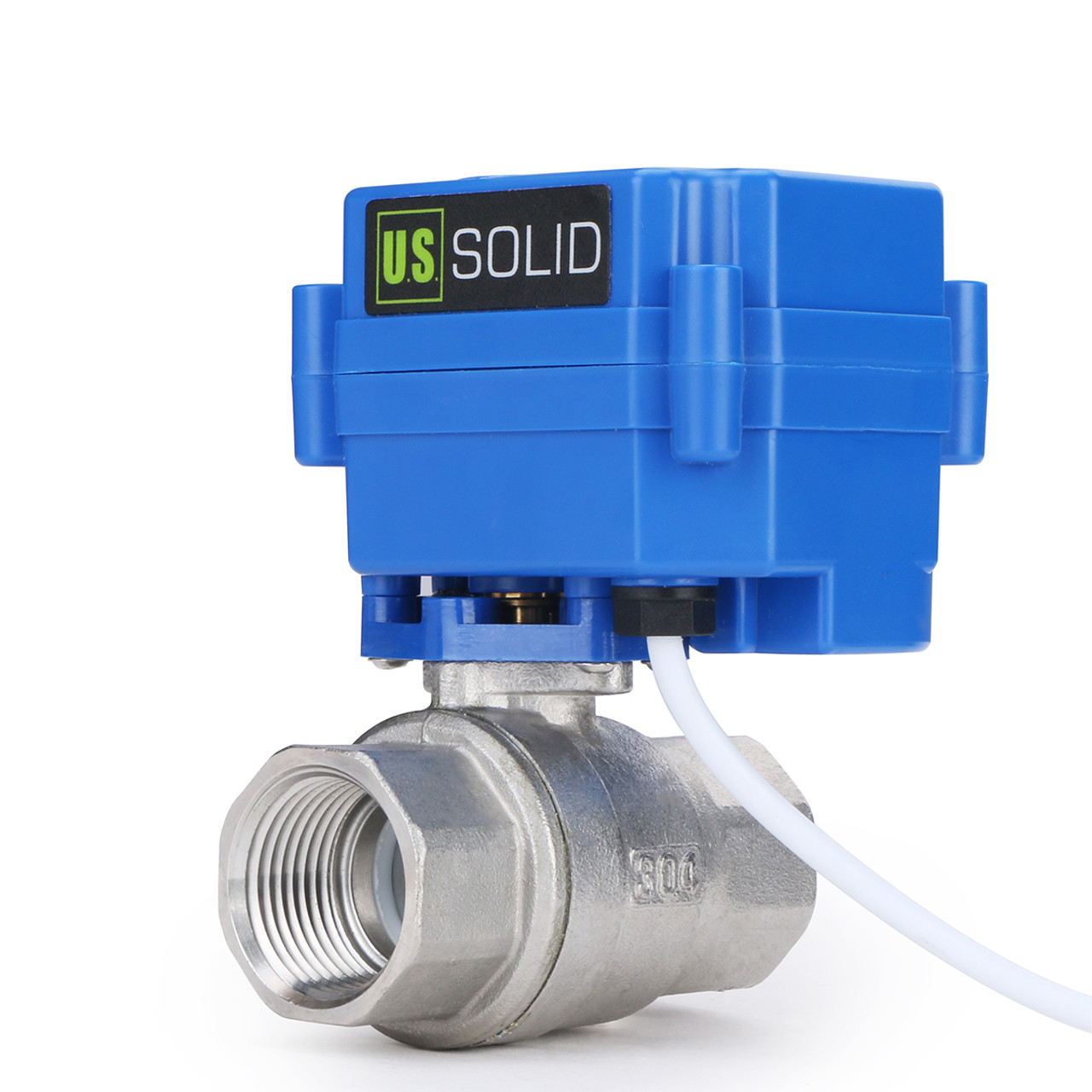 """U.S. Solid Motorized Ball Valve- 3/4"""" Stainless Steel Electrical Ball Valve with Full Port, 9-24 V AC/DC, 2 Wire Auto Return, Normally Open"""