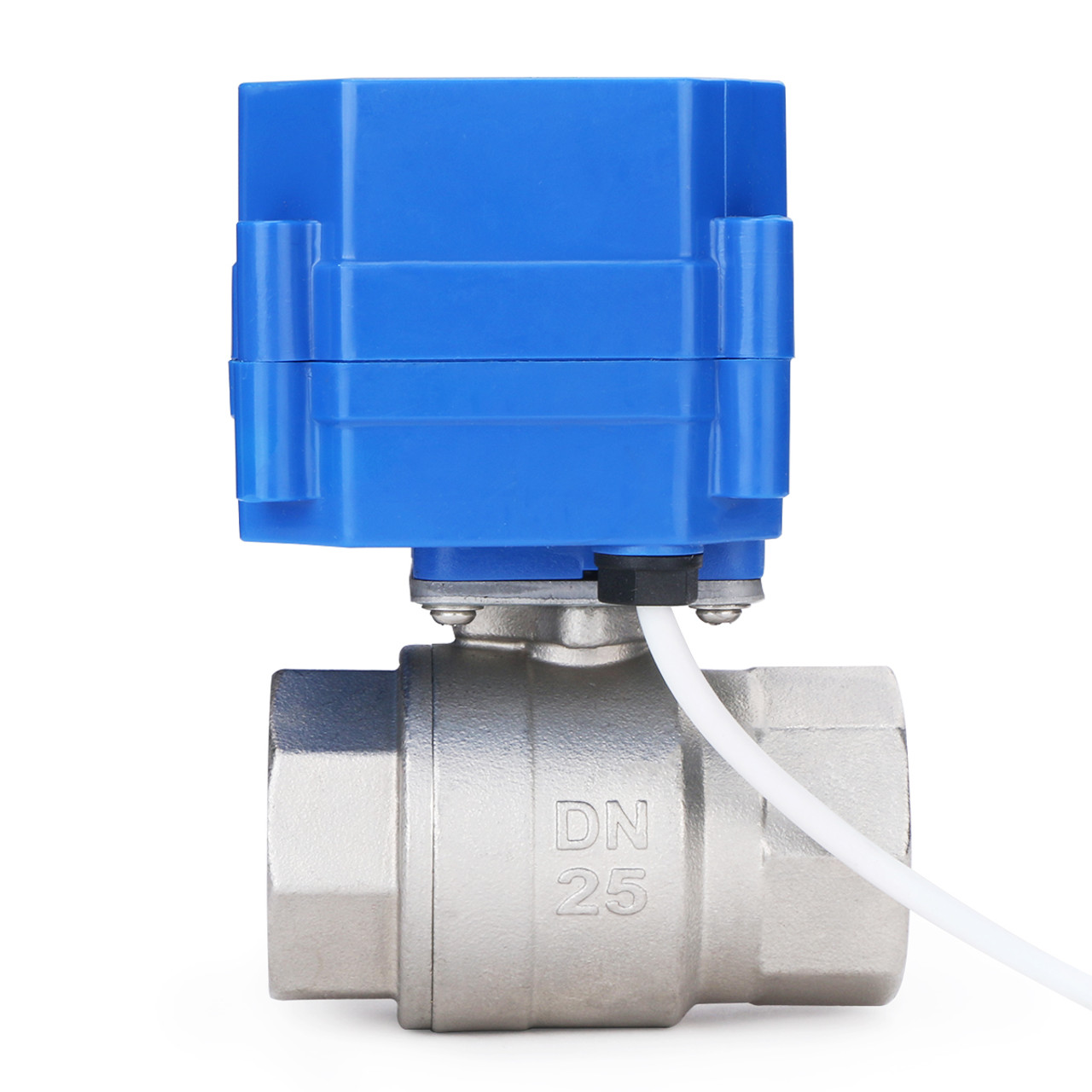 """U.S. Solid Motorized Ball Valve- 1"""" Stainless Steel Electrical Ball Valve with Full Port, 9-24 V AC/DC, 2 Wire Auto Return, Normally Open"""