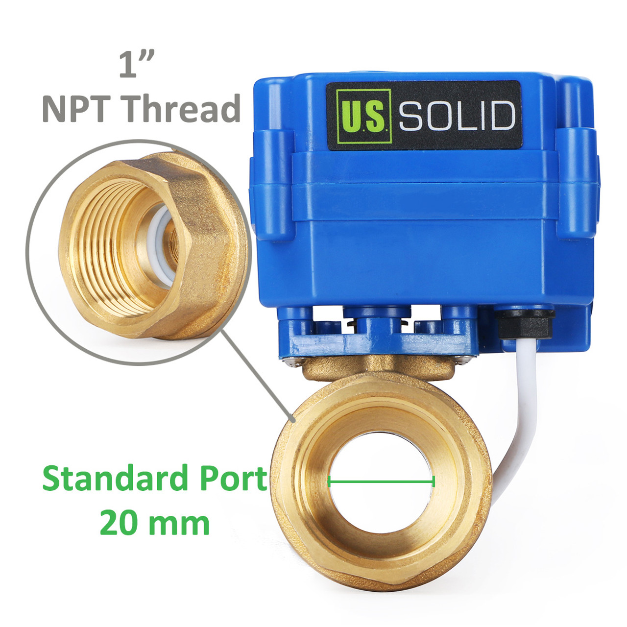 """U.S. Solid Motorized Ball Valve- 1"""" Brass Electrical Ball Valve with Standard Port, 9-24 V AC/DC, 2 Wire Auto Return, Normally Open"""
