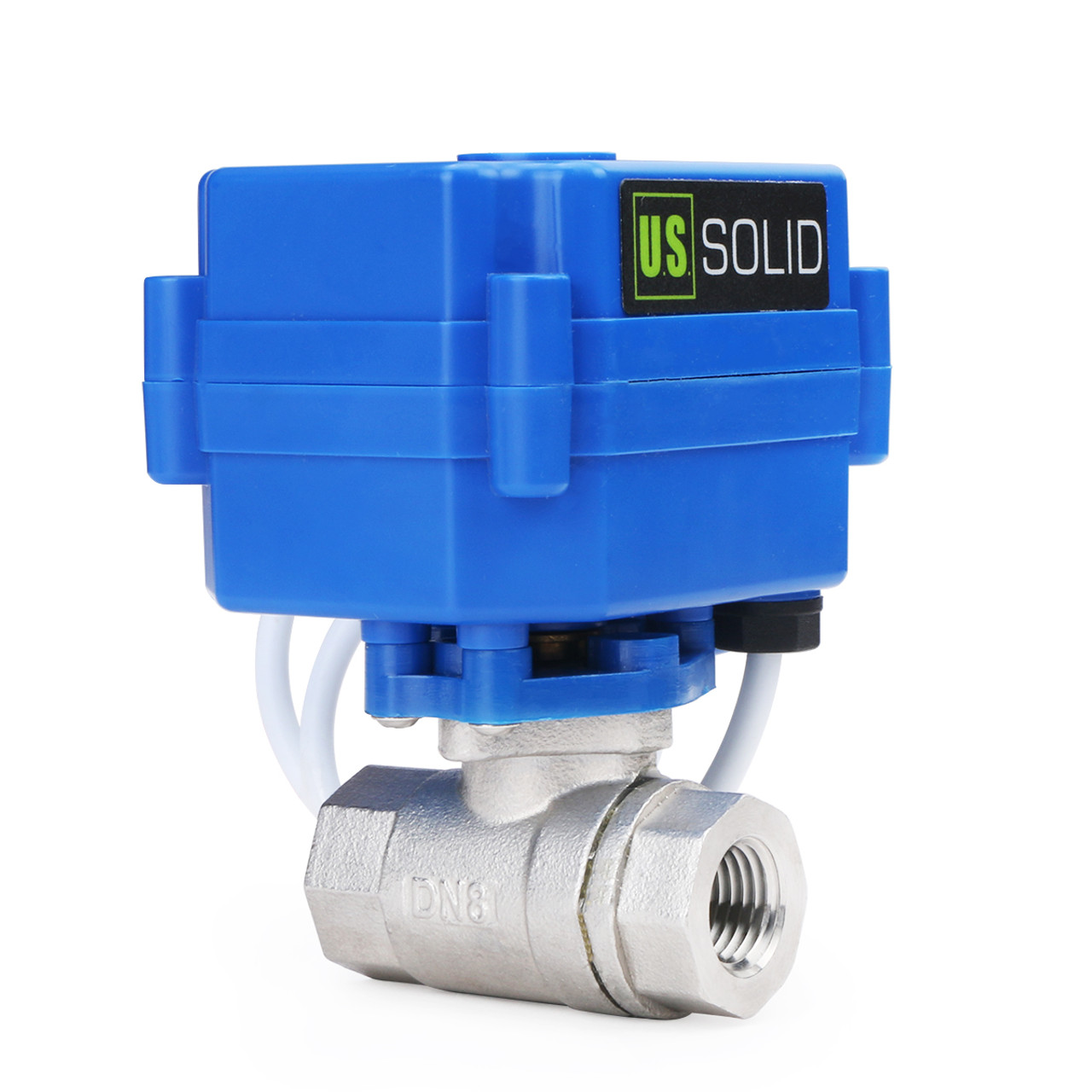 """U.S. Solid Motorized Ball Valve- 1/4"""" Stainless Steel Electrical Ball Valve with Full Port, 9-24 V AC/DC, 2 Wire Auto Return, Normally Open"""