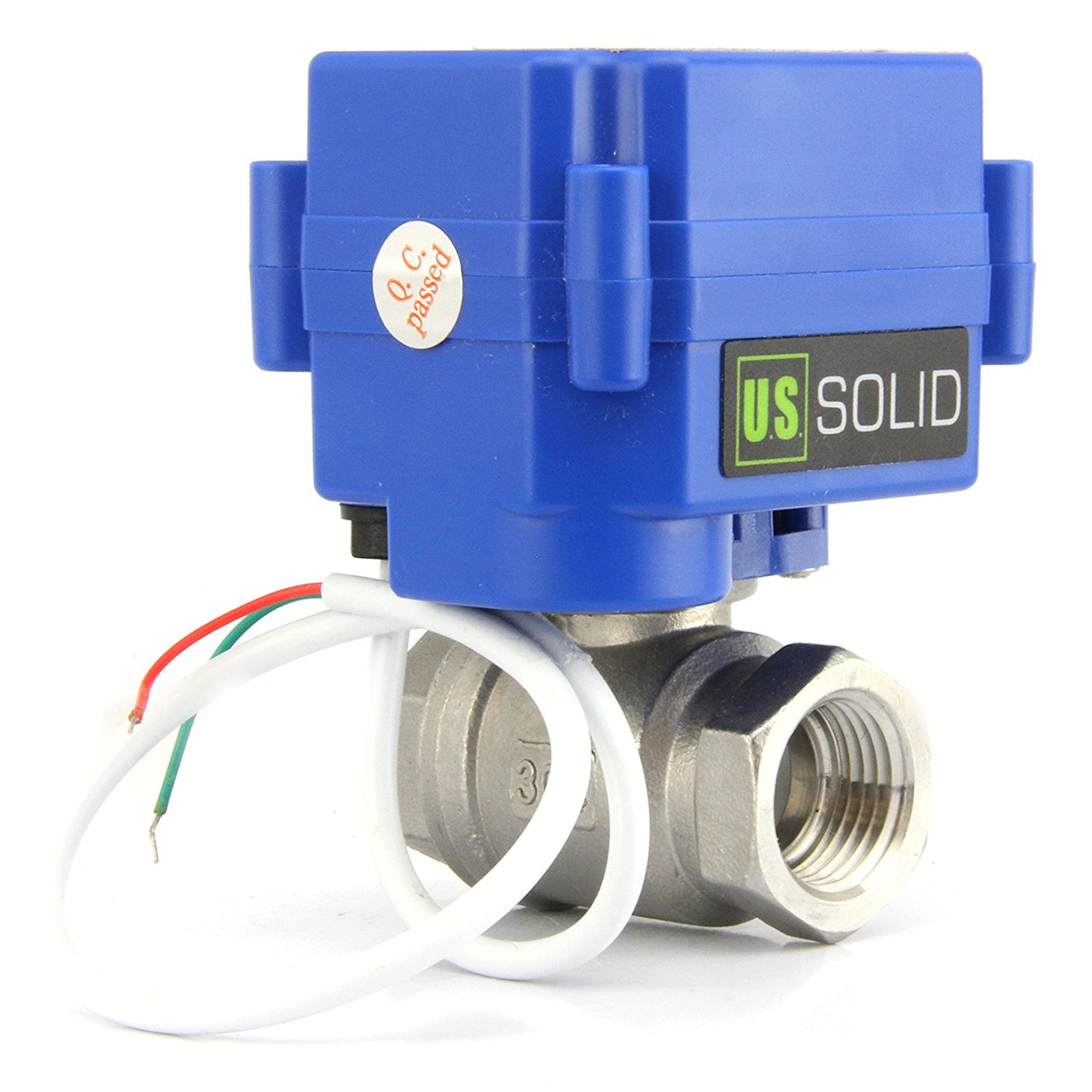 """U.S. Solid Motorized Ball Valve- 1/4"""" Stainless Steel Electrical Ball Valve with Full Port, 85-265 V AC, 2 Wire Auto Return"""