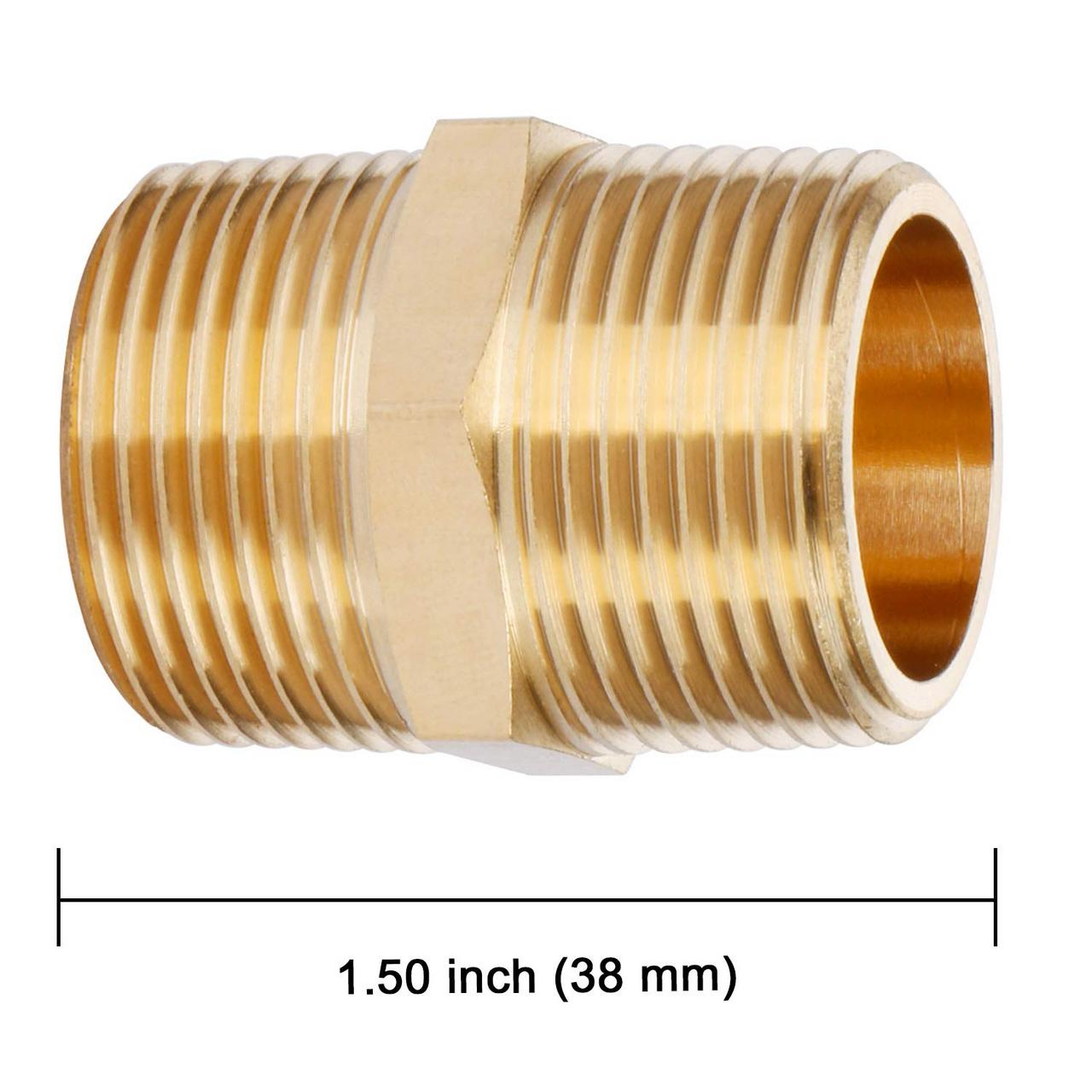 """U.S. Solid Brass Hex Nipple - 3/4"""" x 3/4"""" NPT Male Pipe Fitting Adapter 2pcs"""