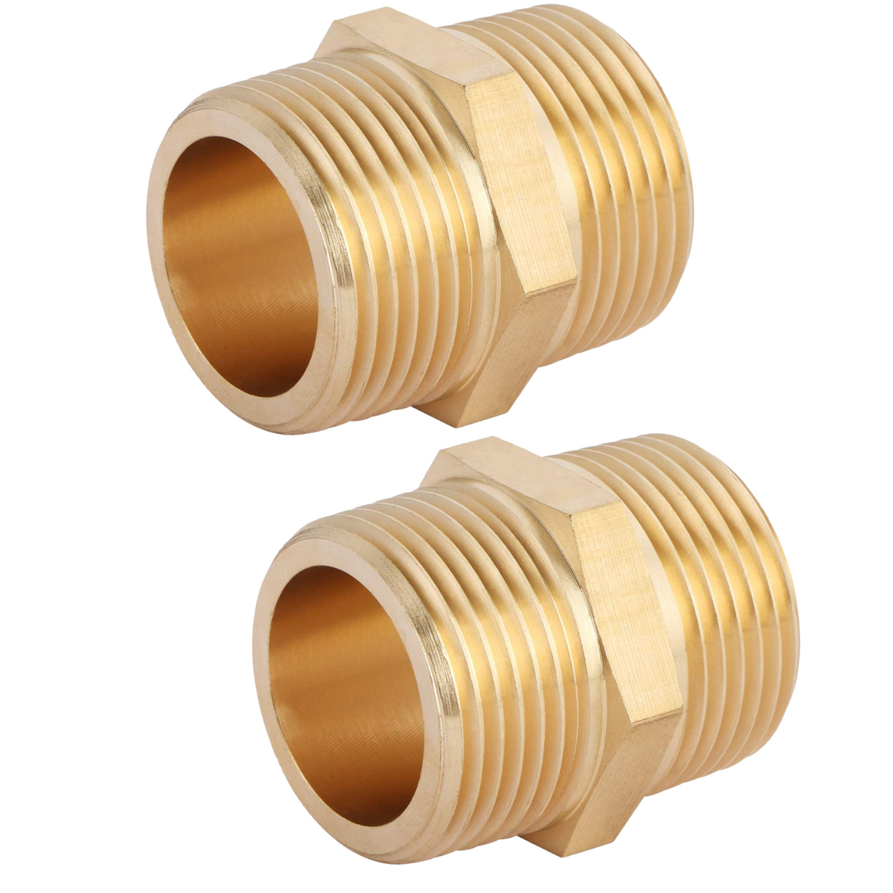 """U.S. Solid Brass Pipe Fitting Hex Nipple - 1"""" x 1"""" NPT Male Pipe Adapter 2pcs"""