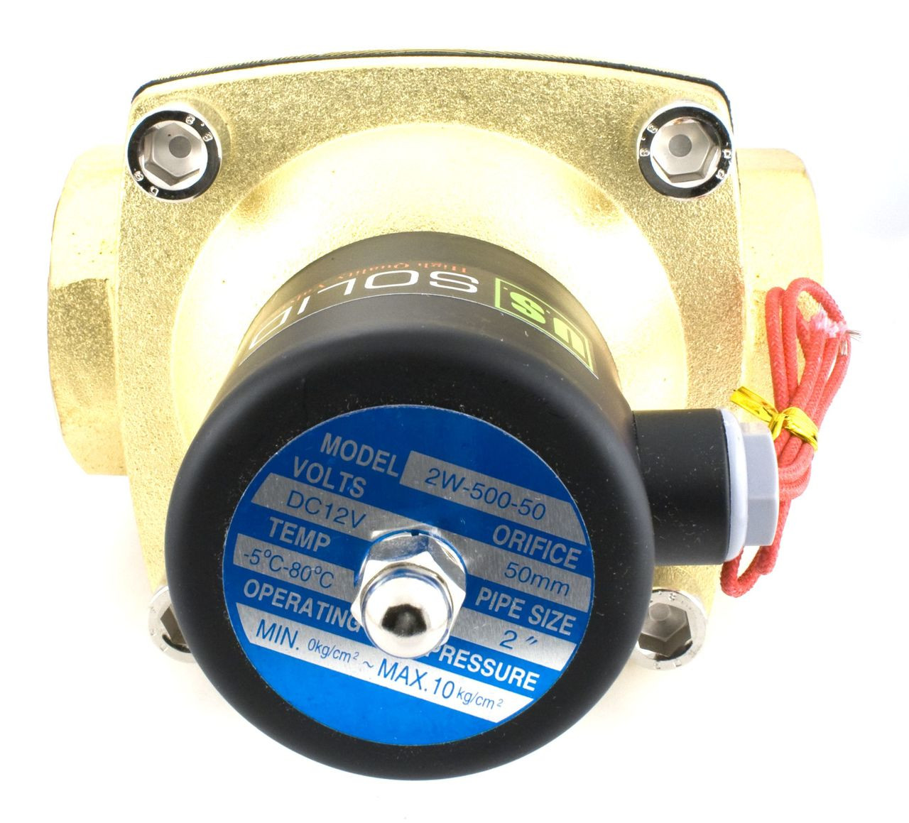 """USSOLID Electric Solenoid Valve- 2"""" 12V DC Solenoid Valve Brass Body Normally Closed, VITON SEAL"""