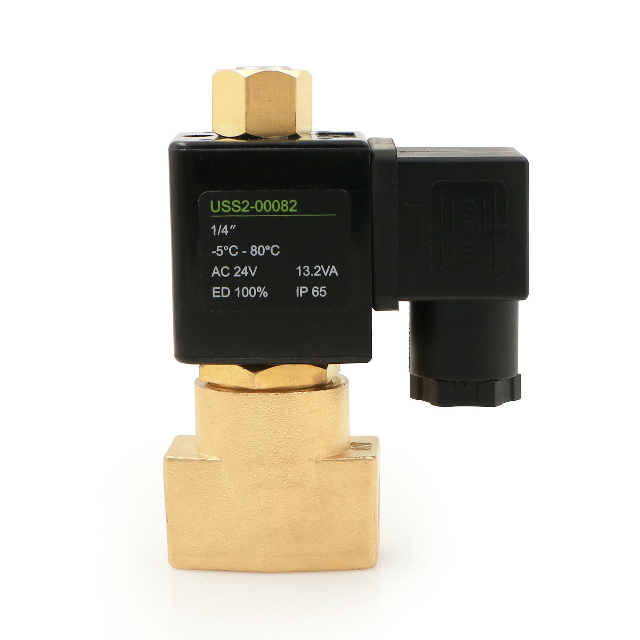 """USSOLID Electric Solenoid Valve- 1/4"""" 24V AC Solenoid Valve Brass Body Normally Open, NBR SEAL"""