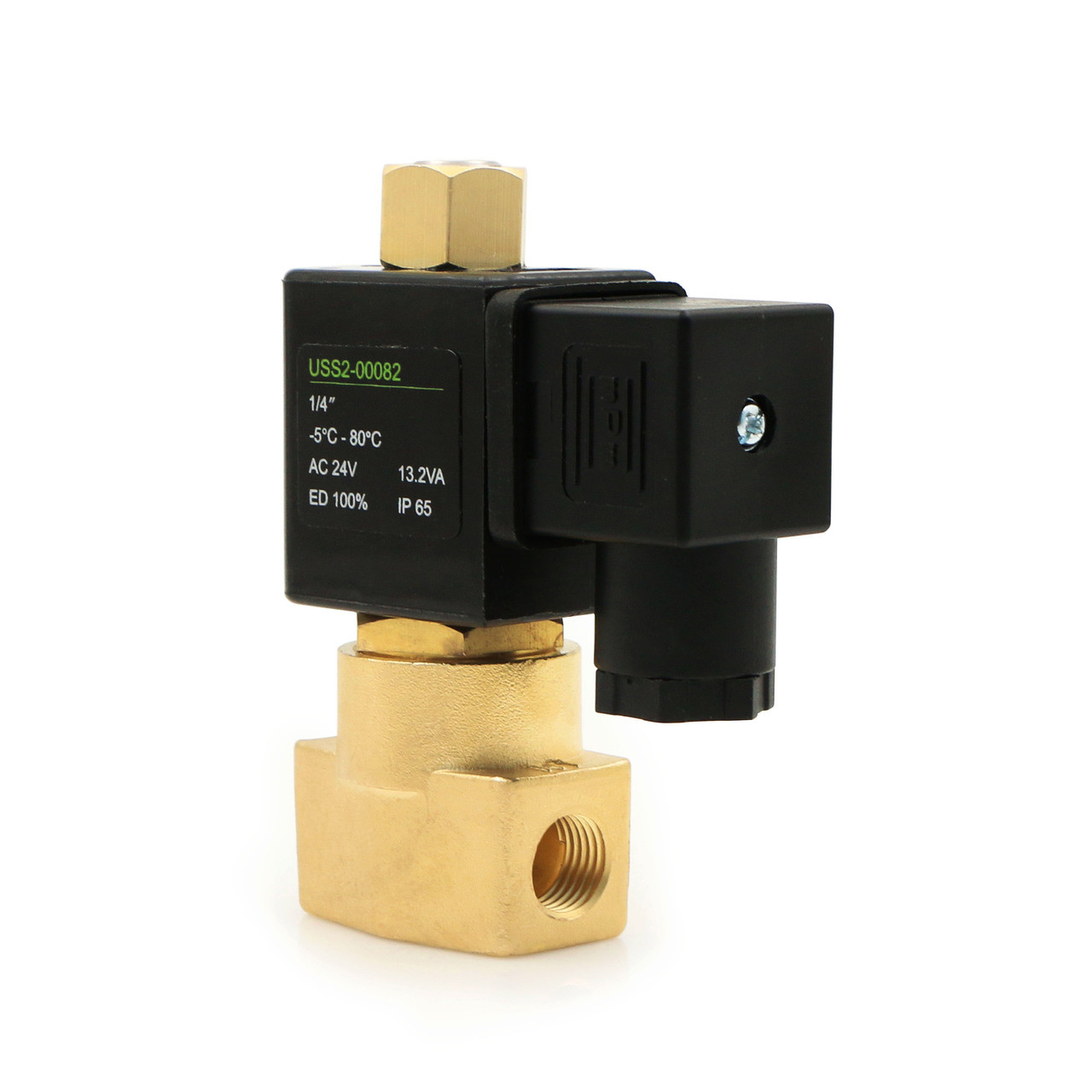 "U.S. Solid Electric Solenoid Valve- 1/4"" 24V AC Solenoid Valve Brass Body Normally Open, NBR SEAL"
