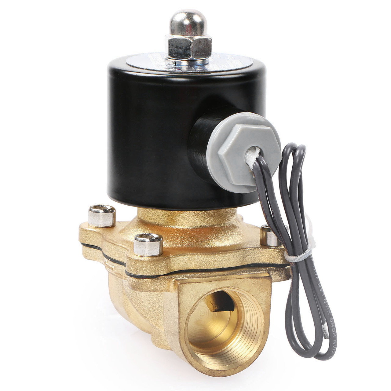 "USSOLID Electric Solenoid Valve- 3/4"" 24V DC Solenoid Valve Brass Body Normally Closed, VITON SEAL"