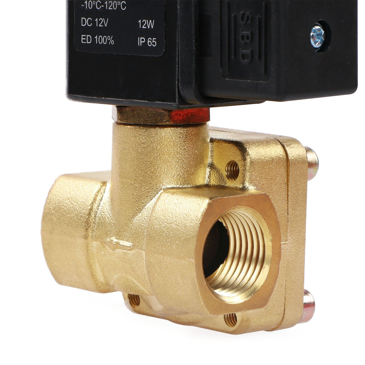 """USSOLID Electric Solenoid Valve- 1/2"""" 12V DC Solenoid Valve Brass Body Normally Closed, Pilot Type, VITON SEAL"""
