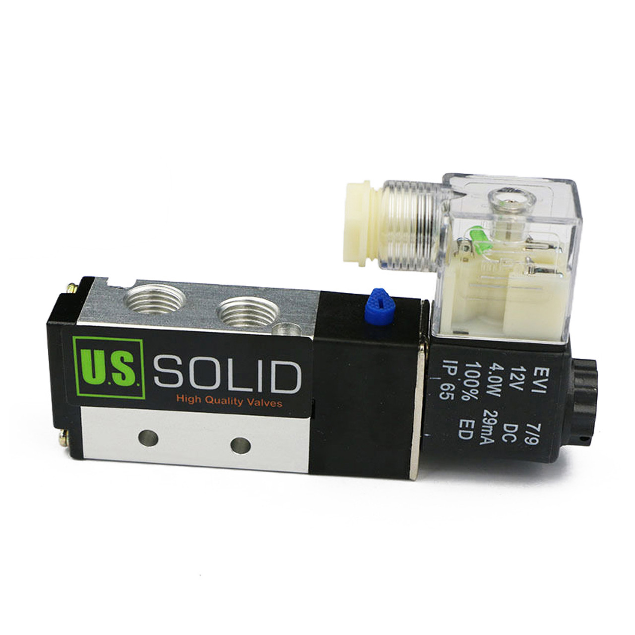 "U.S. Solid 1/4"" 5 way 2 Position Pneumatic Electric Solenoid Valve DC 12 V"