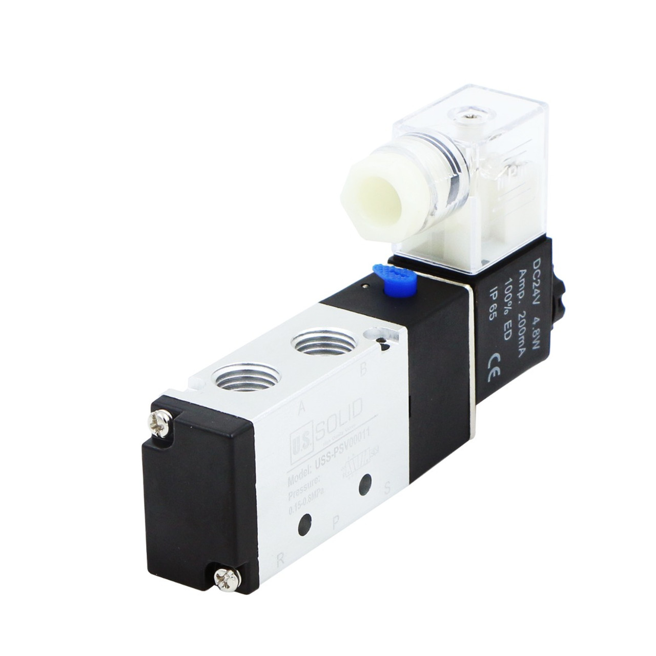 "USSOLID 1/4"" 5 Way 2 Position Pneumatic Electric Solenoid Valve DC 24 V"