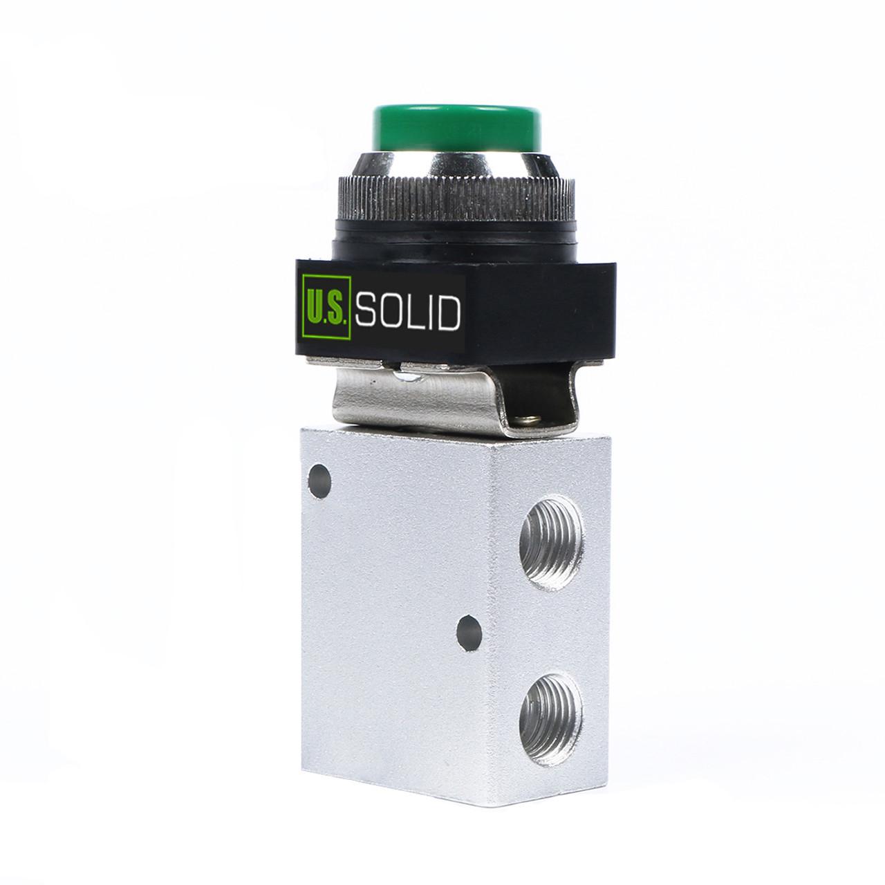 "U.S. Solid 1/4"" NPT Green Push Button 3 Way, 2 Position Pneumatic Control Mechanical Valve"