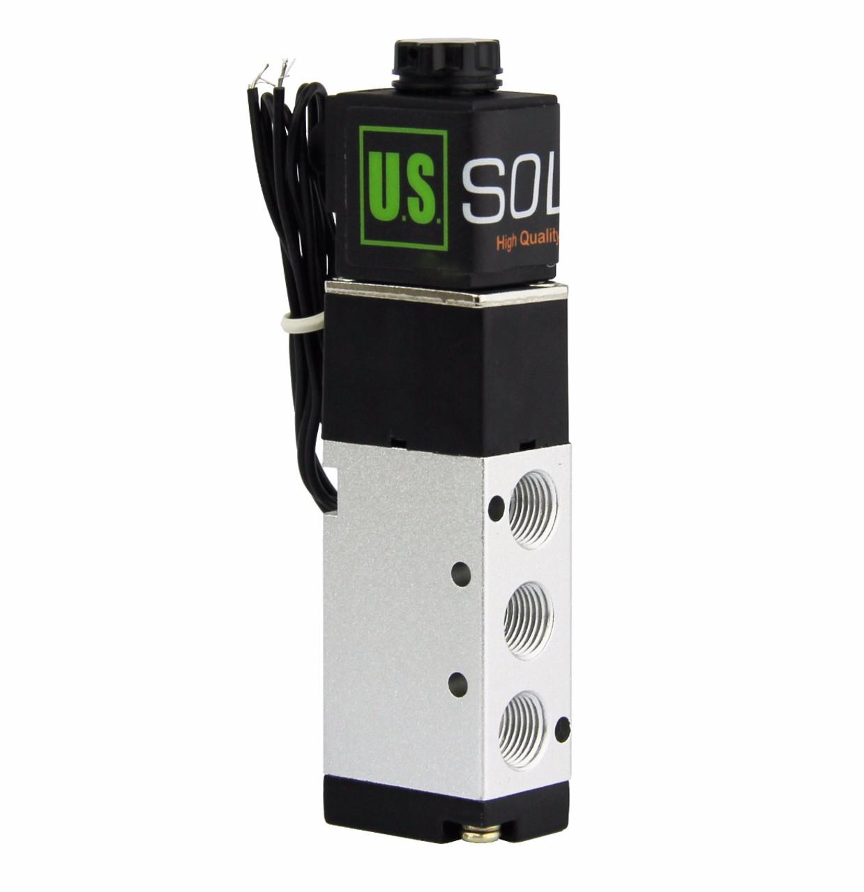 "U.S. Solid 1/8"" NPT 5 Way 2 Position Pneumatic Electric Solenoid Valve DC 12 V"