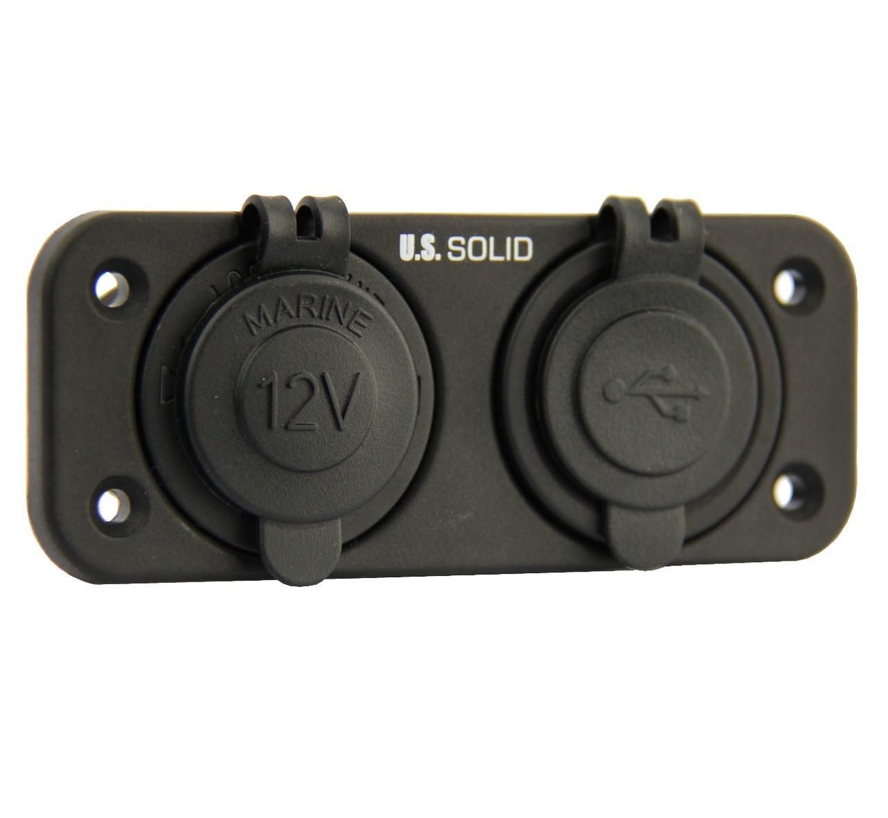 Marine Grade Dual USB Socket and Cigarette Lighter Power Socket DC 12V