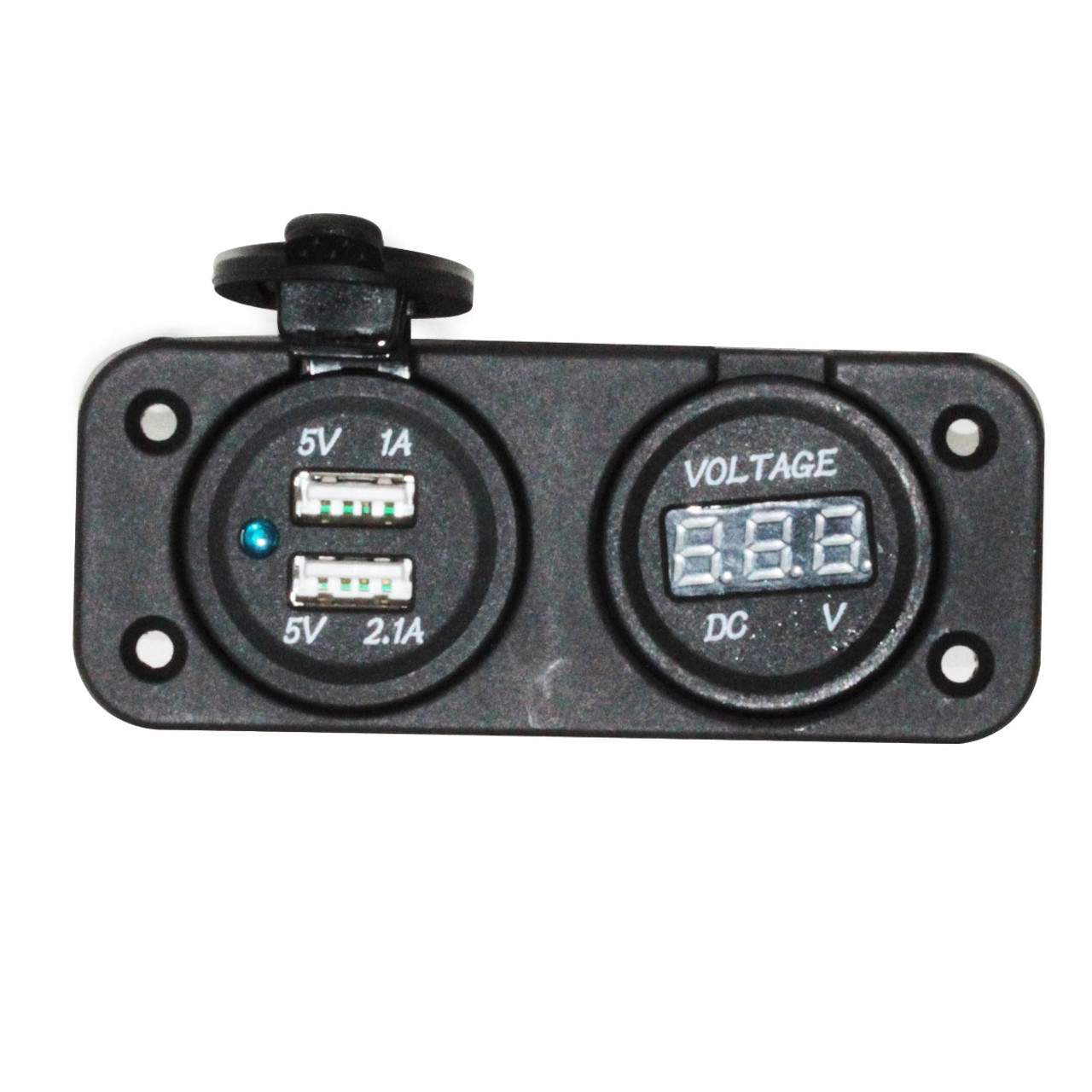 Marine Grade Dual USB Charger Outlet and Digital Display Voltmeter DC 12V