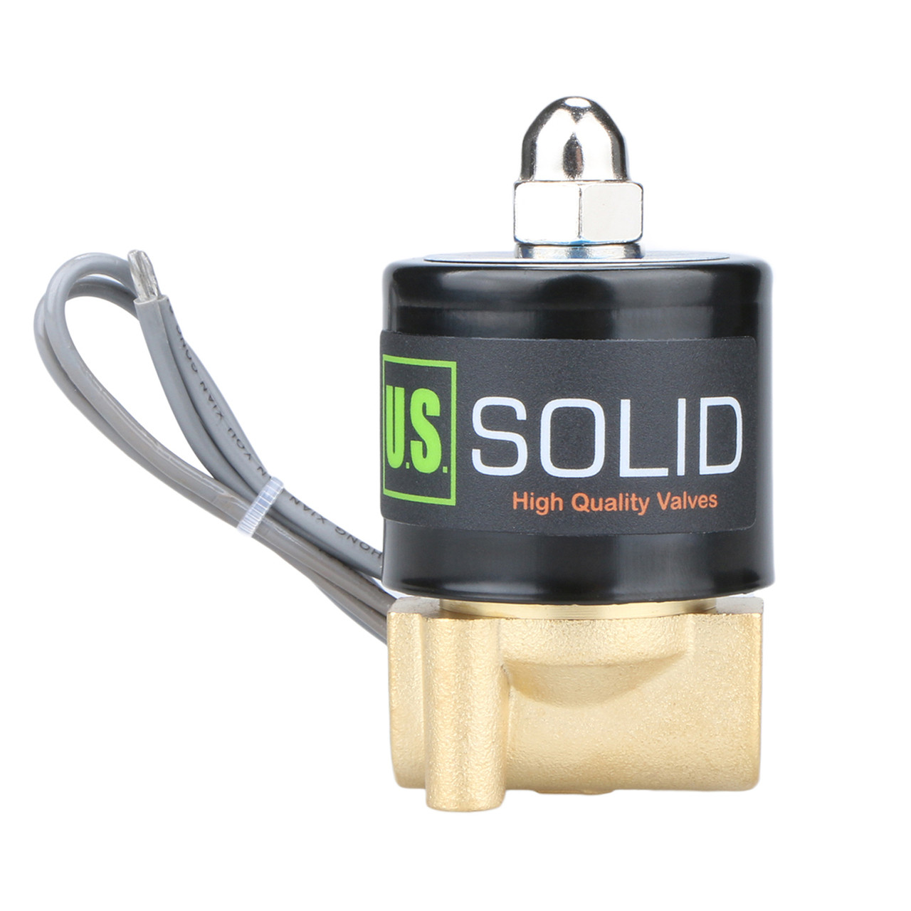 "U.S. Solid Electric Solenoid Valve- 1/8"" 24V DC Solenoid Valve Brass Body Normally Closed, VITON SEAL"