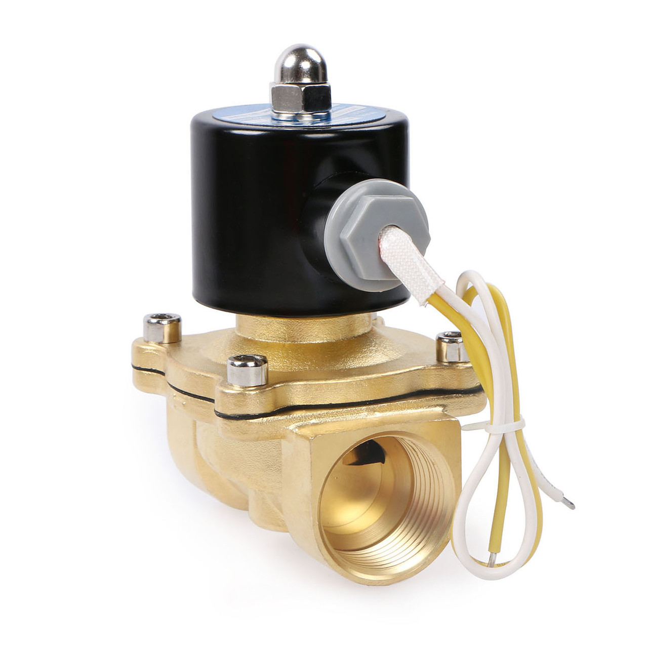 "USSOLID Electric Solenoid Valve- 1"" 110V AC Solenoid Valve Brass Body Normally Closed, NBR SEAL"