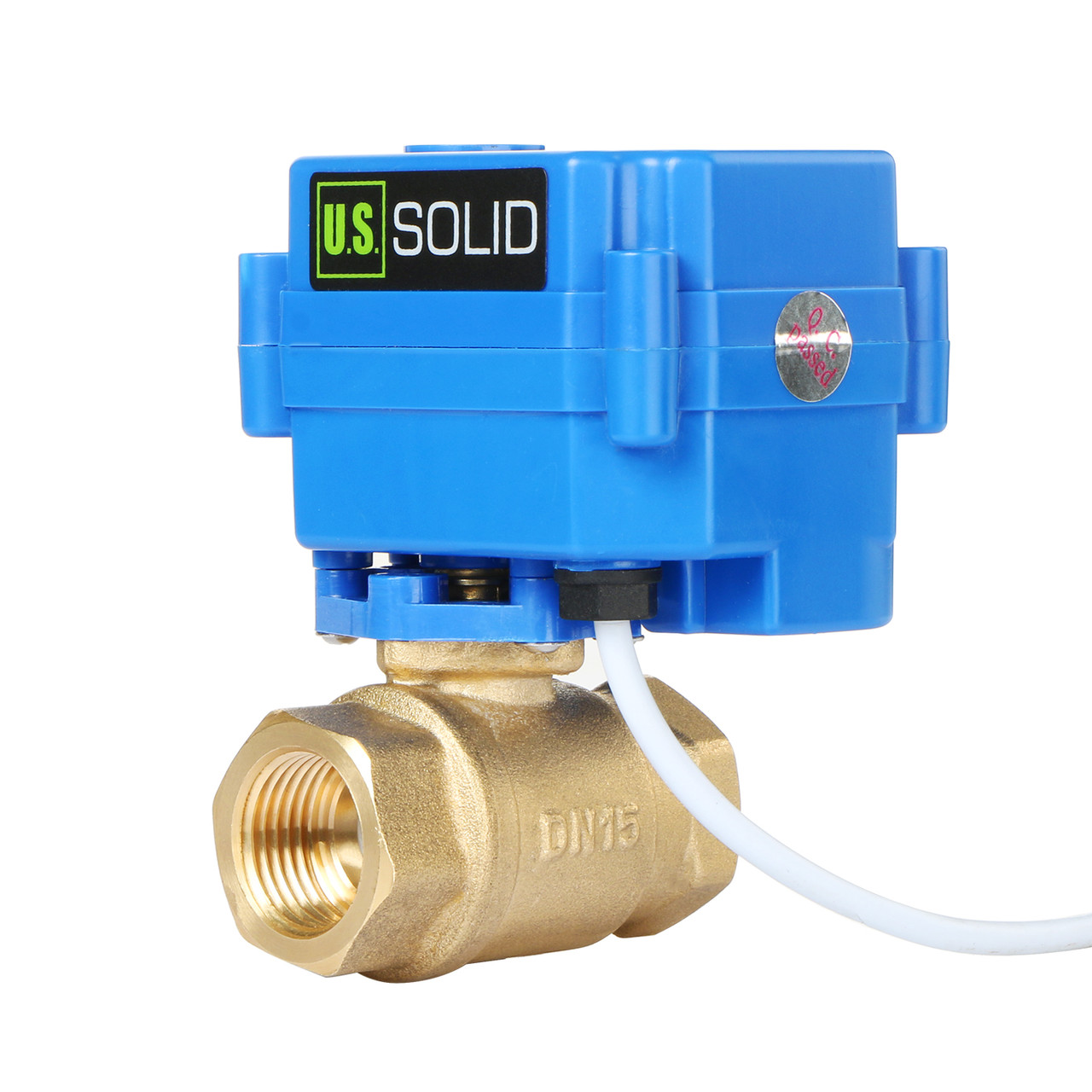 "U.S. Solid Motorized Ball Valve- 1/2"" Brass Electrical Ball Valve with Full Port, 9-24 V DC, 2 Wire Reverse Polarity"